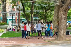 Hanoi, Vietnam - Sep 3, 2015: Group of students learning outdoor at park in Hanoi.  Royalty Free Stock Photos