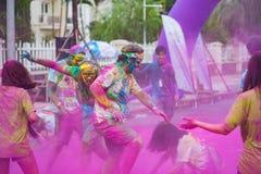 Hanoi, Vietnam - Sep 23, 2015: Public color run event in Hanoi capital city. Hundreds of people joined the joyful race named Color Stock Image