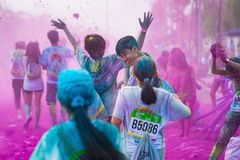 Hanoi, Vietnam - Sep 23, 2015: Public color run event in Hanoi capital city. Hundreds of people joined the joyful race named Color Royalty Free Stock Images
