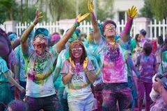 Hanoi, Vietnam - Sep 23, 2015: Public color run event in Hanoi capital city. Hundreds of people joined the joyful race named Color. Me Run Royalty Free Stock Photo