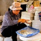Ceramic workshop. HANOI, VIETNAM - SEP 24, 2014: Unidentified Vietnamese woman works at the ceramic workshop. Ceramic art is very popular in Asian culture Stock Images