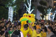Hanoi, Vietnam - Sept 8, 2014: A show of dragon and lion dance performed at lunar mid autumn festival at Times City Complex. This. Is a form of traditional Stock Image