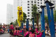 Hanoi, Vietnam - Sept 8, 2014: A show of dragon and lion dance performed at lunar mid autumn festival at Times City Complex. This. Is a form of traditional Royalty Free Stock Photography
