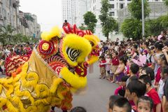 Hanoi, Vietnam - Sept 8, 2014: A show of dragon and lion dance performed at lunar mid autumn festival at Times City Complex. This. Is a form of traditional Royalty Free Stock Image