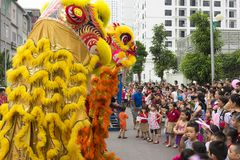 Hanoi, Vietnam - Sept 8, 2014: A show of dragon and lion dance performed at lunar mid autumn festival at Times City Complex. This. Is a form of traditional Stock Photography