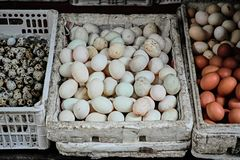 Various Eggs at old quarter in Hanoi stock photos