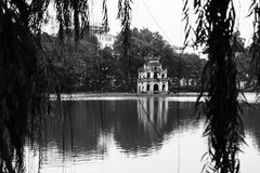 Hanoi, Vietnam. Turtle Tower at Hoan Kiem Lake Royalty Free Stock Photo