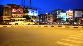 Hanoi Vietnam. Zoom Out - Busy Traffic Circle in Hanoi Vietnam at Dusk stock video footage