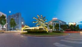 Hanoi, Vietname - 19 de julho de 2016: O panorama da entrada à alameda mega de Vincom cronometra a cidade, o complexo o maior no  Fotos de Stock