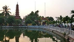 Tran Quoc Pagoda is the oldest Buddhist temple in Hanoi. Hanoi,Vietname - November 18,2017 : Tran Quoc Pagoda is the oldest Buddhist temple in Hanoi. It is stock video