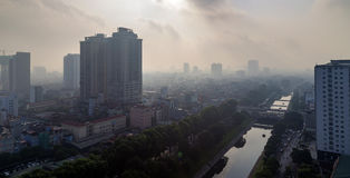 Hanoi view from the sky in morning Stock Image