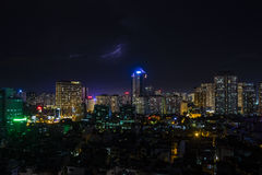 Hanoi view from the sky by night Stock Photo