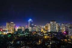 Hanoi widok od niebo zatoki nocy Zdjęcia Royalty Free