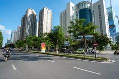 Hanoi Wietnam, Aug, - 22, 2017: Droga i budynki przy Hanoi miastem Hoang Dao Thuy ulica Obrazy Stock