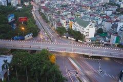 Hanoi Wietnam, Aug, - 5, 2015: Widok z lotu ptaka skrzyżowania Nguyen Chi Thanh Kim Ma uliczna krzyżuje ulica w Cau Giay okręgu,  Obrazy Stock
