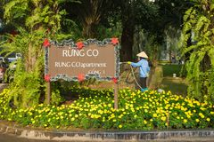 Hanoi Wietnam, Jan, - 1, 2016: Aparment deski znak z Azjatycką kobietą nawadnia kwiecistego ogród i zieleń przy Ecopark mieszkani Zdjęcie Royalty Free