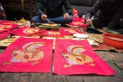 Hanoi Wietnam, Jun, - 22, 2017: Dong obrazy Ho Dong ludowego woodcut antyczny obraz Ho, estetyczny symbol w Wietnam kulturze wewn Zdjęcia Stock