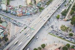 Hanoi Wietnam, Lipiec, - 9, 2015: Widok z lotu ptaka Hanoi linii horyzontu pejzaż miejski Le Van Luong, Khuat Duy Tien skrzyżowan Zdjęcie Stock