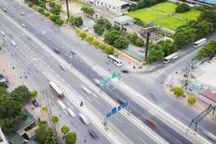 Hanoi Wietnam, Lipiec, - 4, 2015: Widok z lotu ptaka Pham Wieszał ulicę Hanoi pejzaż miejski Zdjęcie Stock