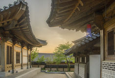 Hanoks. Traditional Korean housing as the sun is going down Royalty Free Stock Photos