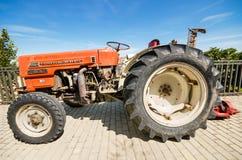 Hanomag Barreiros 4000 V at annual Vintage tractor exhibition in Cameno, Burgos, Spain on August 24, 2014. Royalty Free Stock Photos