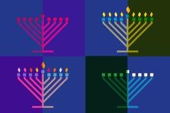 Hanoucca coloré Menorah, fond de candélabre illustration de vecteur