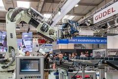 Hanover, Duitsland - April 02 2019: IBG stelt hun nieuwste innovaties in Hanover Messe voor stock afbeelding
