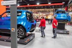 Hanover, Duitsland - April 02 2019: NAAI Eurodrive voorstelt de productie van nieuw elektrisch E GA auto bij royalty-vrije stock afbeeldingen