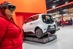 Hanover, Duitsland - April 02 2019: NAAI Eurodrive voorstelt de productie van nieuw elektrisch E GA auto bij stock foto's