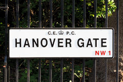 Hanover Gate road plate in London Royalty Free Stock Photos