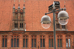 Hanover, Germany. Street lights on the background of ancient architecture Stock Photos