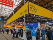 Hanovre, Allemagne - avril 2019 : Cabine de pays partenaire Suède à l'exposition 2019 de Hanovre Messe image stock