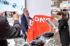 Hanovre, Allemagne - 2 avril 2019 : Wolong pr?sente les plus nouvelles innovations ? la FOIRE de HANOVRE photo stock