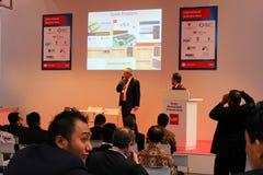 HANOVRE, ALLEMAGNE - 13 MARS : Forum international de secteur d'activité le 13 mars 2014 à l'expo d'ordinateur du CEBIT, Hanovre,  Photos stock