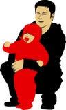 hans barnfader royaltyfri illustrationer