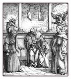 Hans Burgkmair, Emperor Maximilian I learns alchemy. Holy Roman Emperor Maximilian I learns the alchemy of gold makers, reproduction from an engraving of Hans royalty free illustration