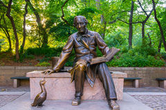 Hans Christian Andersen Statue in Central Park Manhattan. Hans Christian Andersen is one of the most popular climbing sculptures in the Park Royalty Free Stock Photography