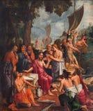 АНТВЕРПЕН, БЕЛЬГИЯ - краска сцены рыбной ловли чуда Hans фургоном Elburcht и Abbrosius Francken от года 1560 стоковое изображение