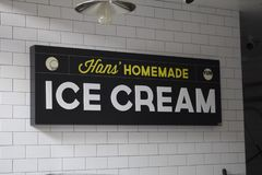 Hans` Homemade Ice Cream restaurant sign. A store front sign for the food stall known as Hans` Homemade Ice Cream, inside the Anaheim Packing House, in Anaheim royalty free stock images