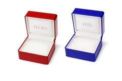 Hans och hennes smyckenaskar Royaltyfri Bild