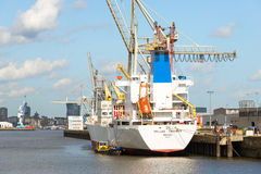 Hansa harbor basin in the Hamburg district Kleiner Grasbrook Royalty Free Stock Photo