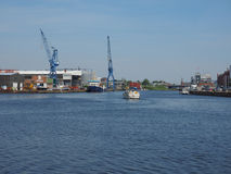 Hansahafen harbour in Luebeck Royalty Free Stock Photo