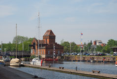 Hansahafen harbour in Luebeck. LUEBECK, GERMANY - CIRCA MAY 2017: The Hansa Hafen harbour Royalty Free Stock Images