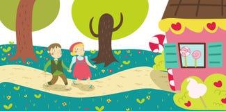 Hansel en van Gretel Grimm dichte omhooggaand van de verhaalillustratie Royalty-vrije Stock Afbeeldingen