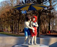 Hansel and Gretel with Ciechocinek resort. Artistic monument Hansel and Gretel on the boardwalk in Ciechocinku Stock Photos