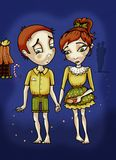 Hansel and Gretel. Illustration of two lost kids in the dark. Colorful fairy tale illustration Royalty Free Stock Photos