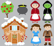 Hansel and Gretel Vector Collection with Witch Royalty Free Stock Image
