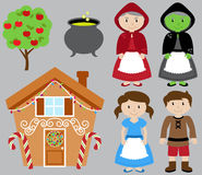 Hansel and Gretel Vector Collection with Witch Royalty Free Stock Photos