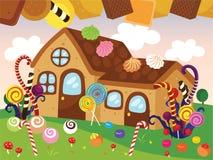 Hansel y ejemplo de Gretel Cute Cookies House Vector ilustración del vector
