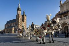 Hansom cab on Old Town square in Krakow, Poland. KRAKOW, POLAND - MARCH 13: Hansom cab waiting to whisk tourists around the beautiful city of Krakow on March 13 royalty free stock images